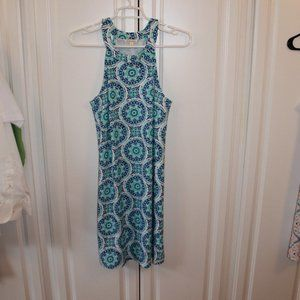All for color navy teal white dress